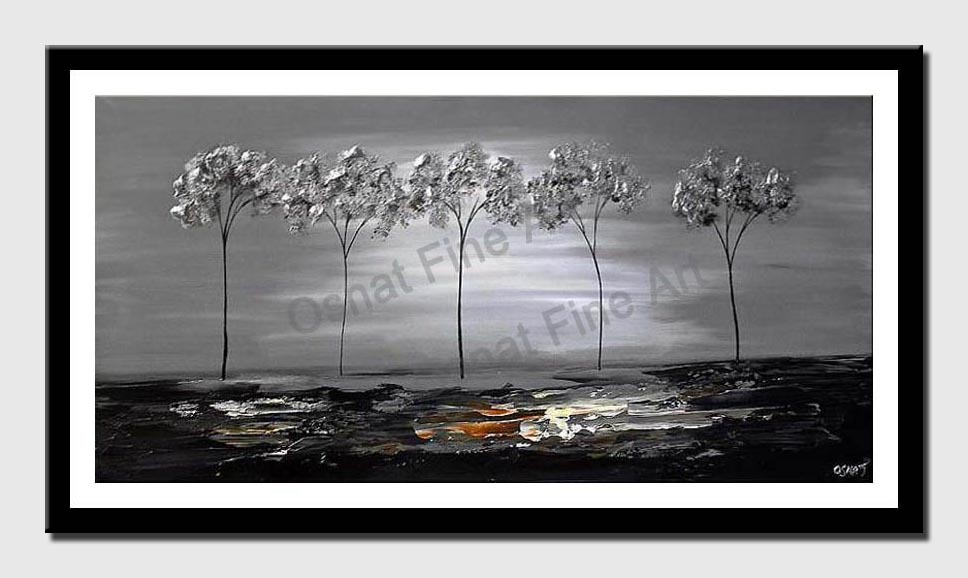 canvas print of five silver trees