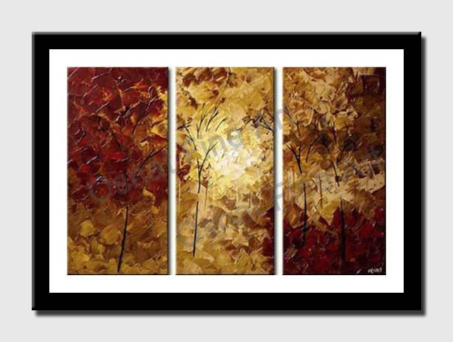 canvas print of textured painting red forest