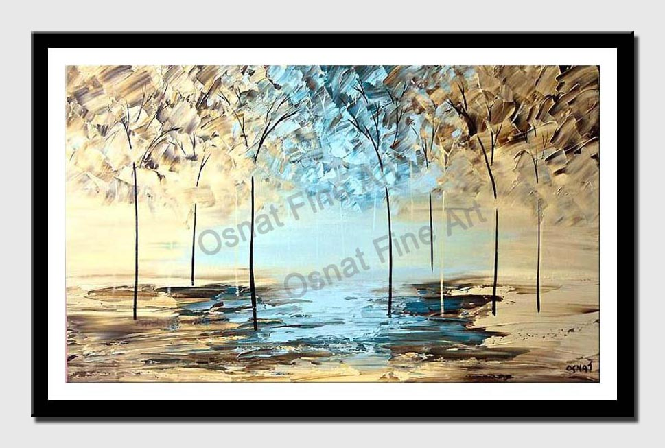 canvas print of trees by the lake