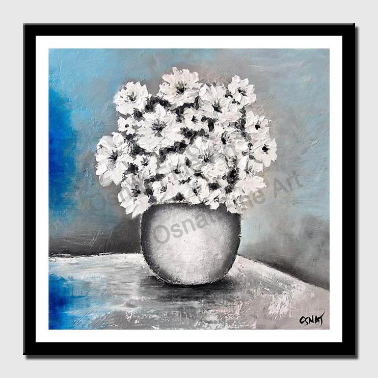 canvas print of white vase and flowers