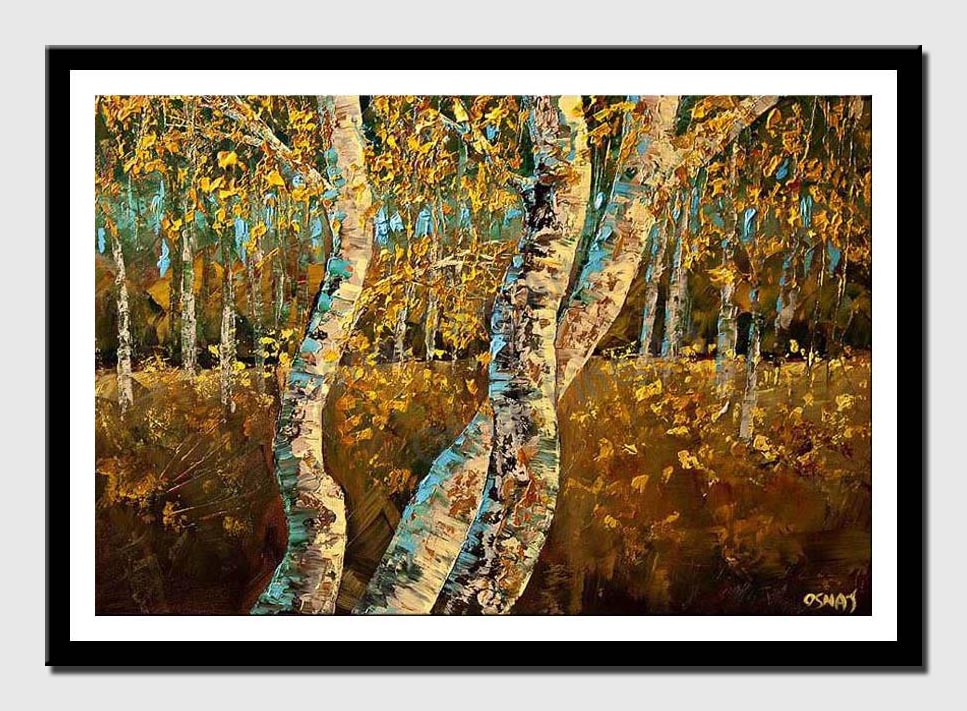 canvas print of textured painting of birch trees