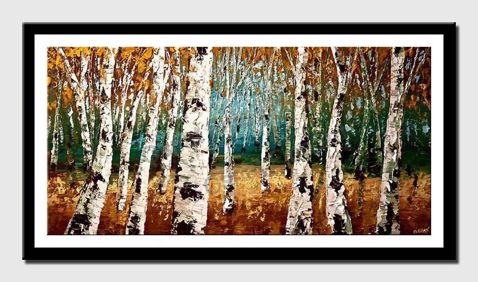 canvas print of textured forest of birch trees