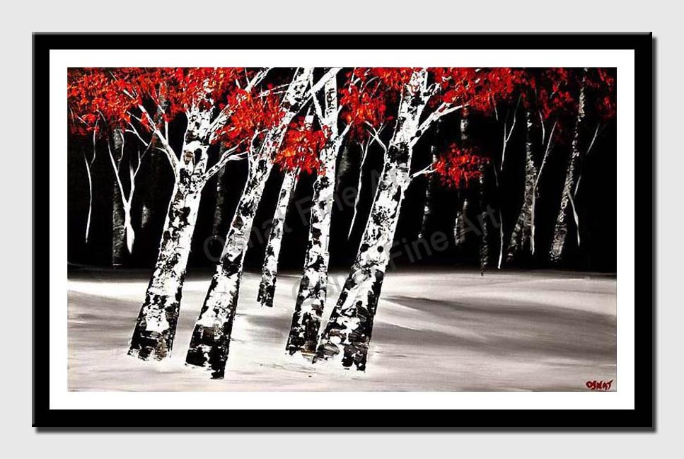 canvas print of textured birch trees at night