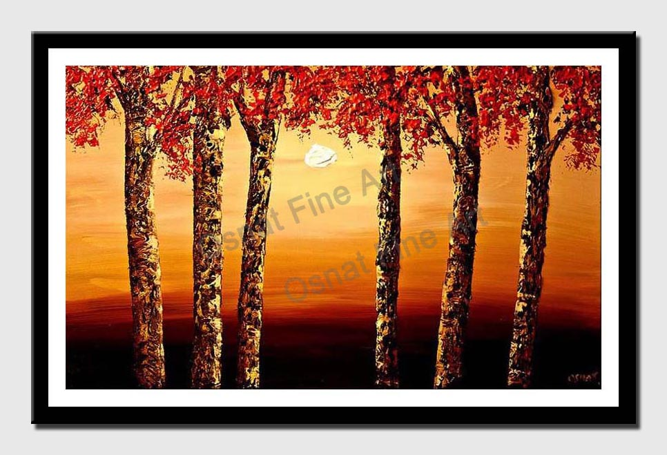 canvas print of cherry trees at sunrise