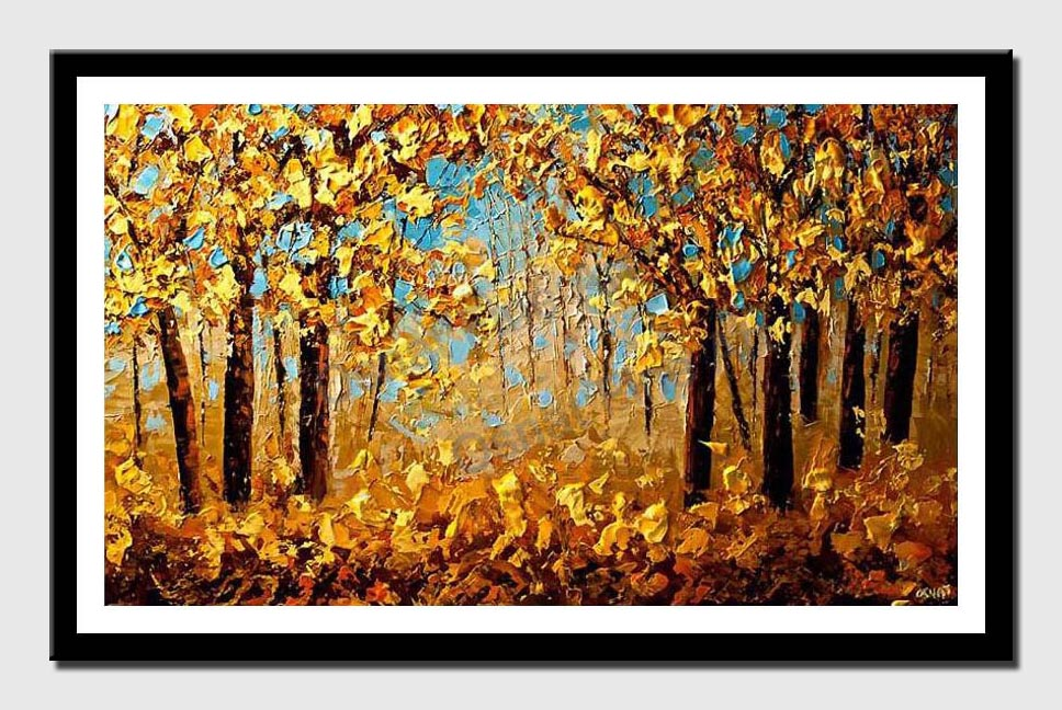 canvas print of forest of yellow blooming trees