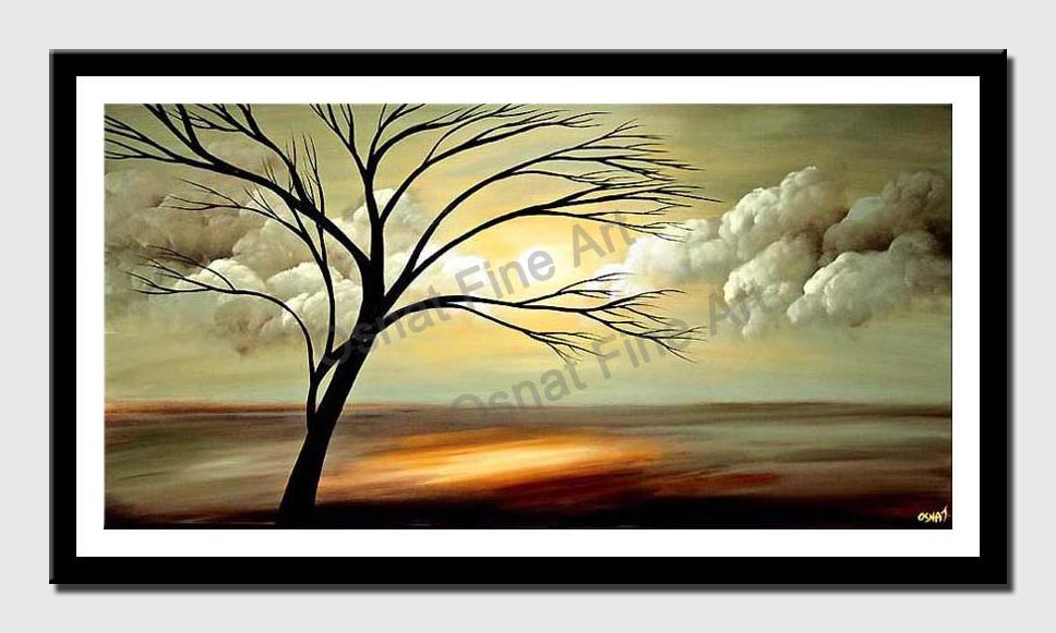 canvas print of landscape painting of naked tree and beautiful sunrise