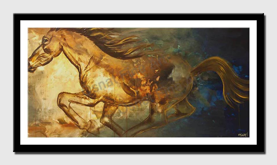 canvas print of painting of pegasus horse running