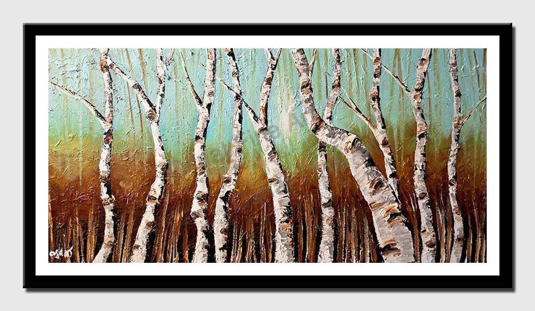 canvas print of birch trees in bright day