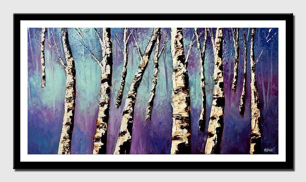 canvas print of birch trees in purple forest
