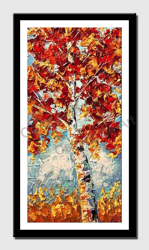 canvas print of blooming birch tree in red and yellow