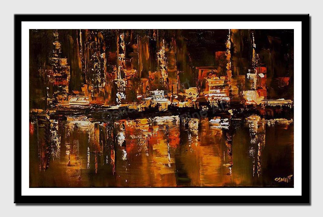 canvas print of painting of cityscape reflected in the river