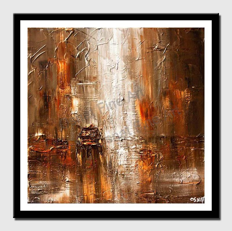 canvas print of abstract painting car in street