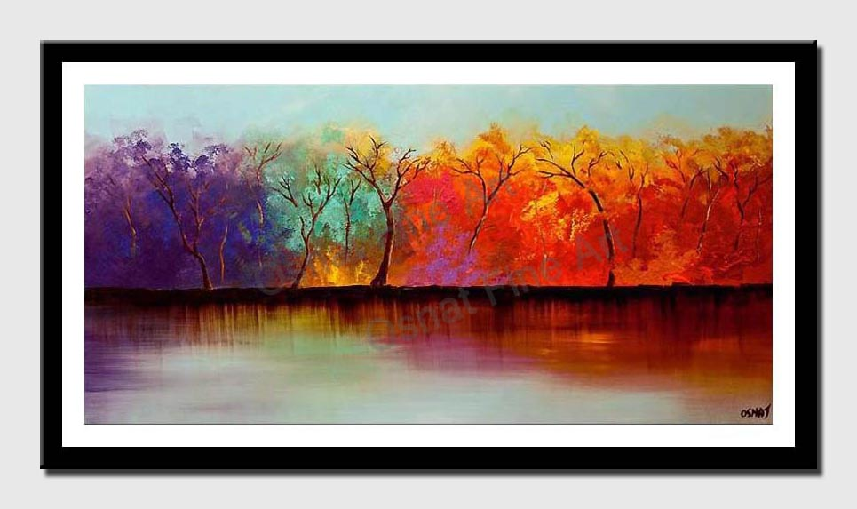 canvas print of colorful forest on river bank