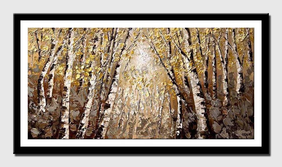 canvas print of dense forest of birch trees
