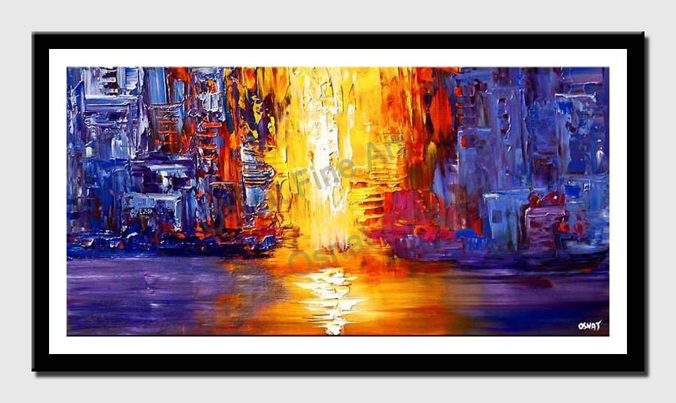 canvas print of abstract passage painting in blue yellow and red tones
