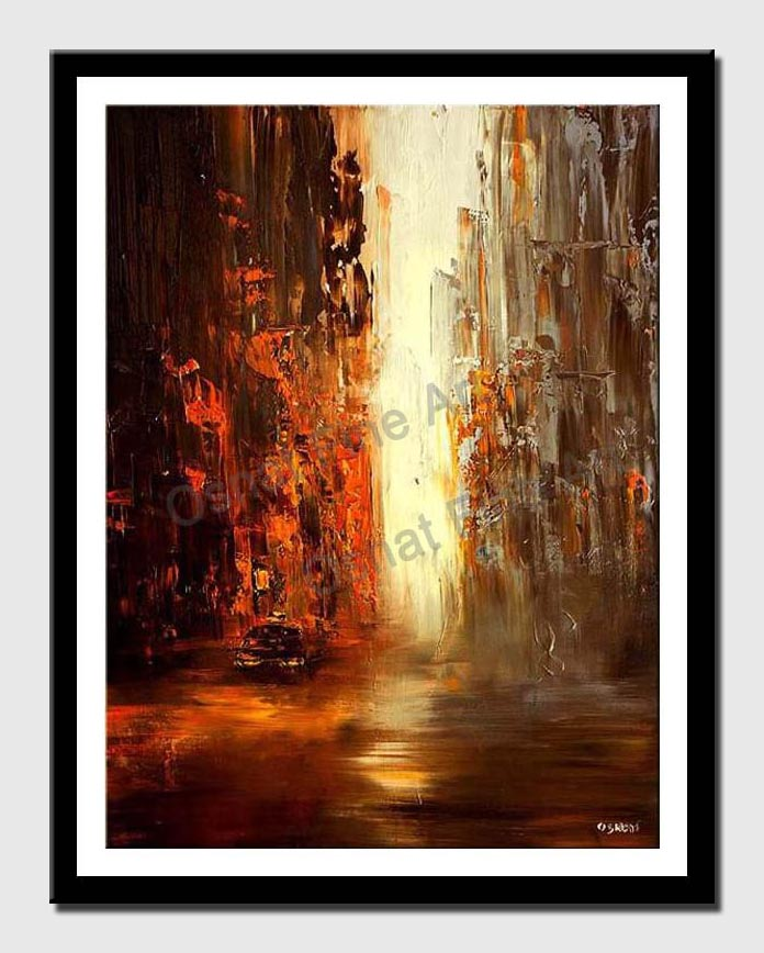 canvas print of abstract vertical painting of taxi in the big city
