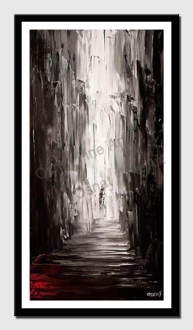 canvas print of vertical painting of an alley in black and white