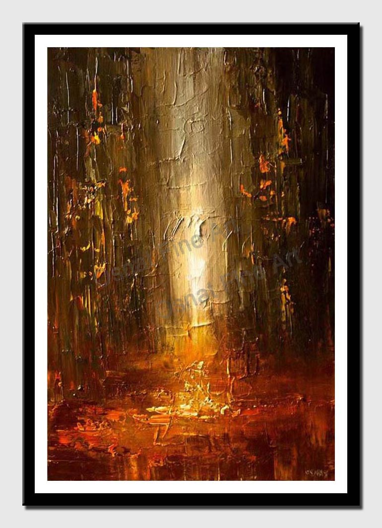 canvas print of abstract painting of city street in rusty red