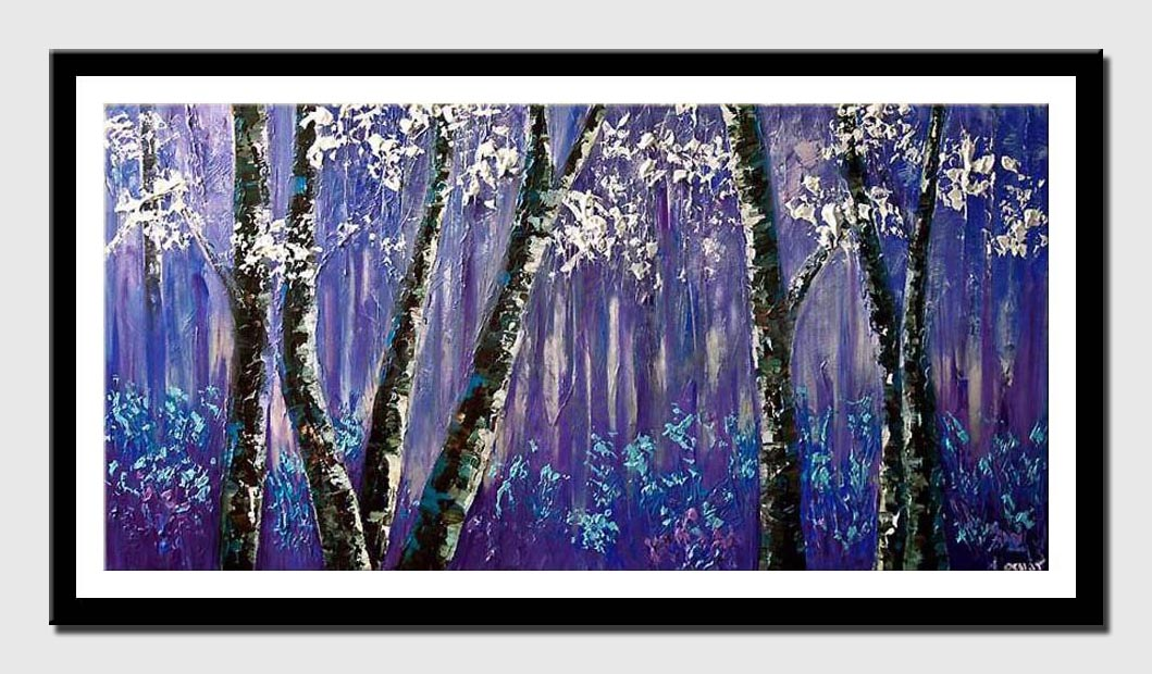 purple forest of blooming birch trees