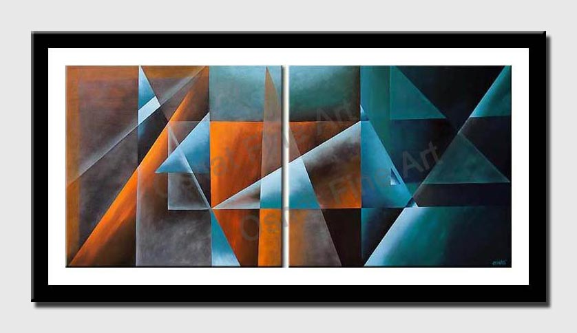 canvas print of abstract triangles in brown and blue