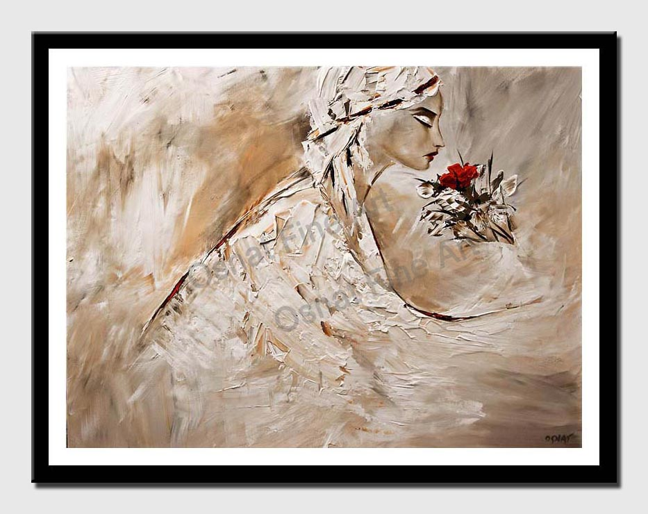 canvas print of painting of woman smelling rose
