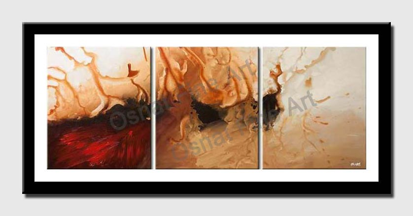 canvas print of red abstract triptych for wall decor