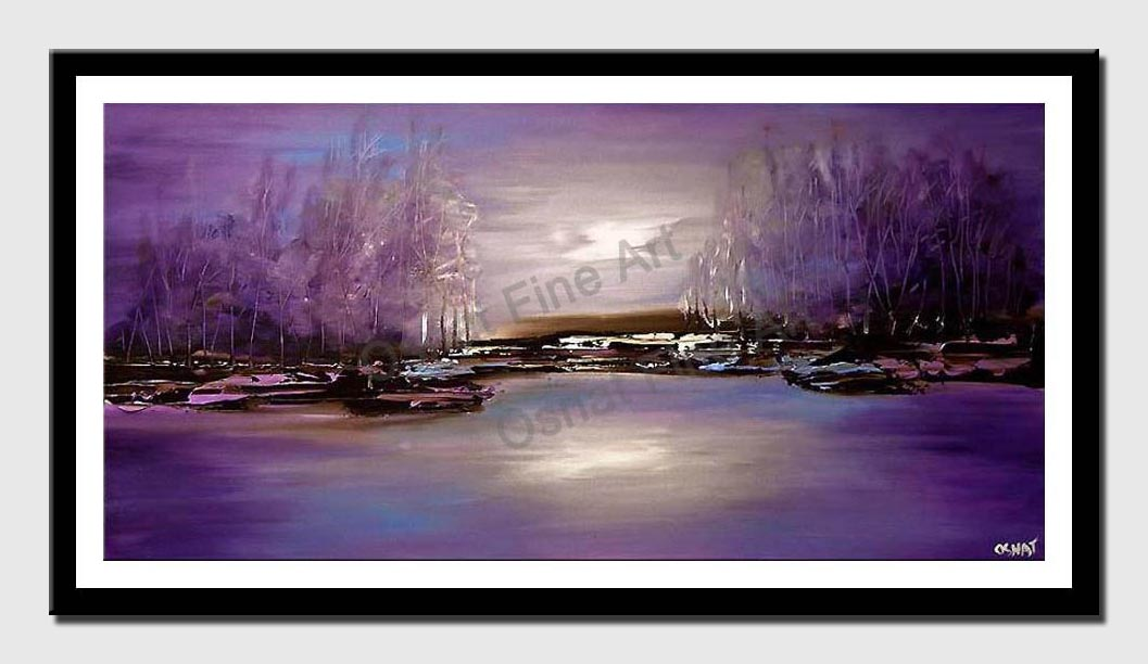 canvas print of purple forest on river bank