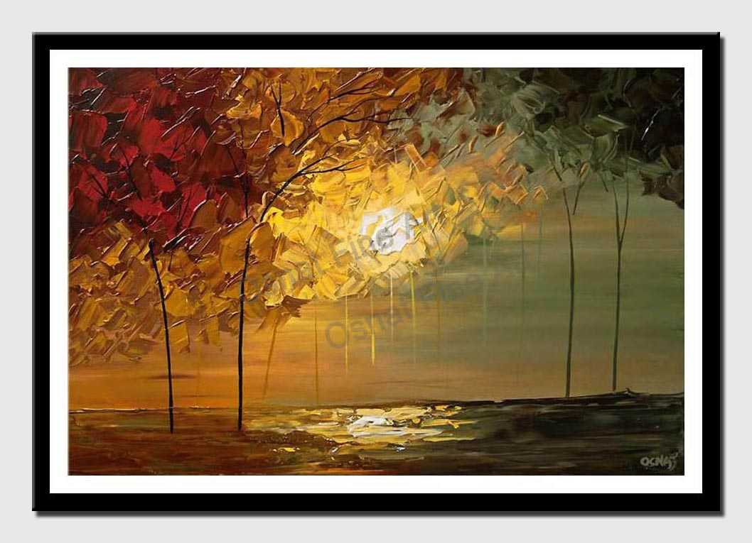 canvas print of blooming trees over sunrise
