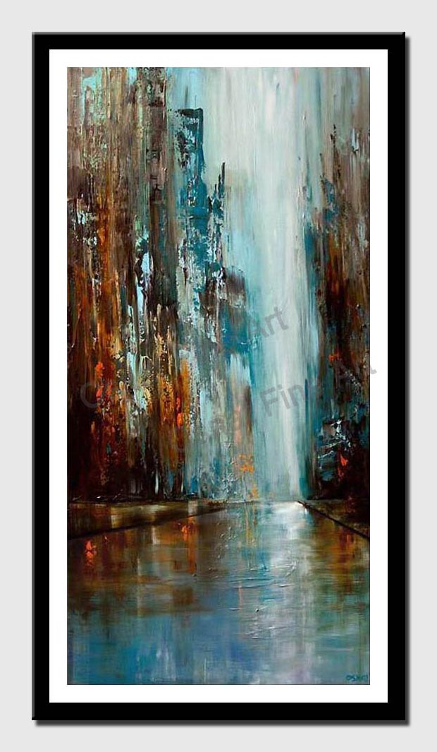 canvas print of blue and brown abstract cityscape