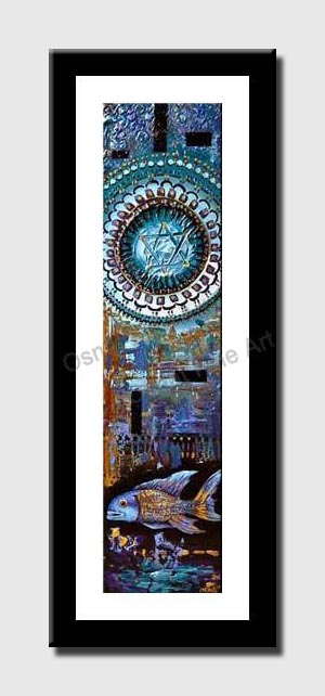 canvas print of judaica magen david painting and fish
