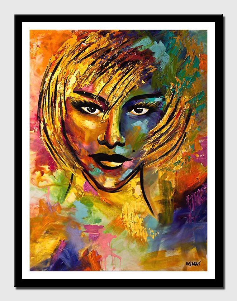canvas print of colorful painting of blond woman face with russian look