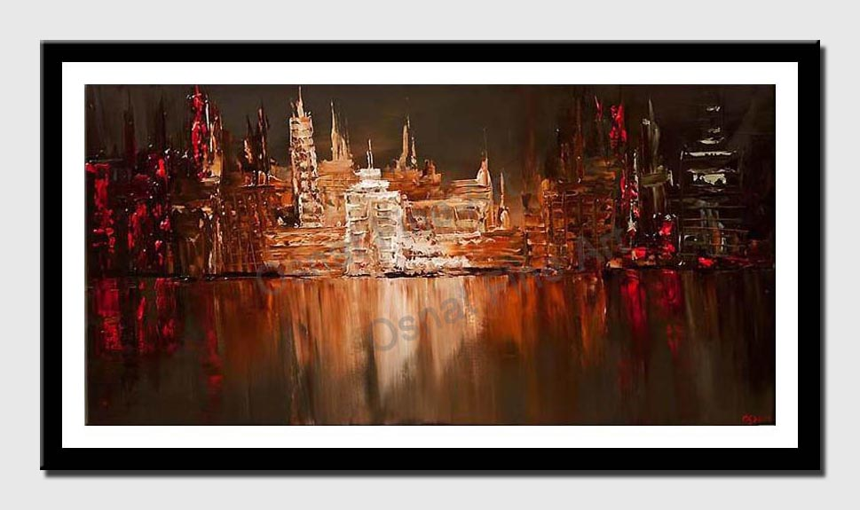 canvas print of reflection of city over river