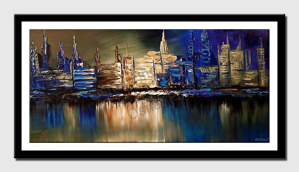 canvas print of blue cityscape reflected on water