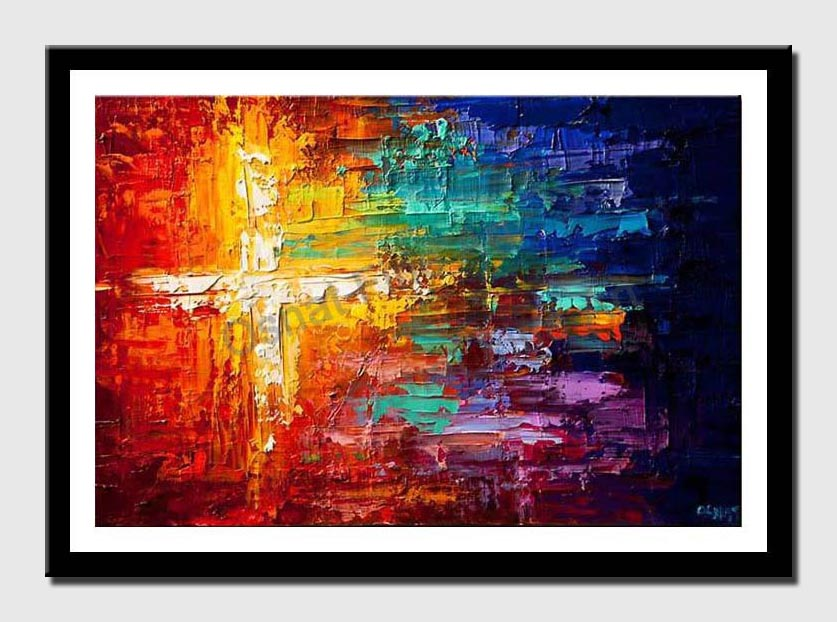 canvas print of colorful abstract cross