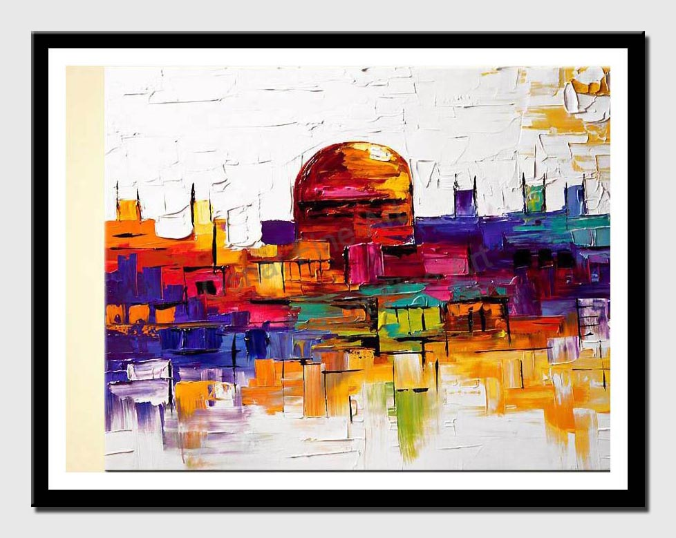 canvas print of colorful painting of jerusalem golden dome