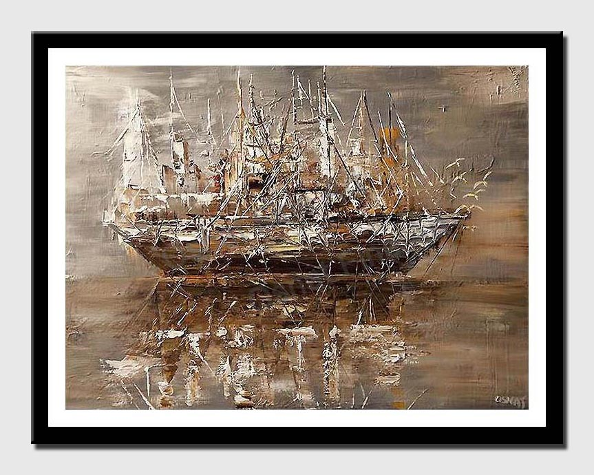 canvas print of brown pirate ship silently sailing