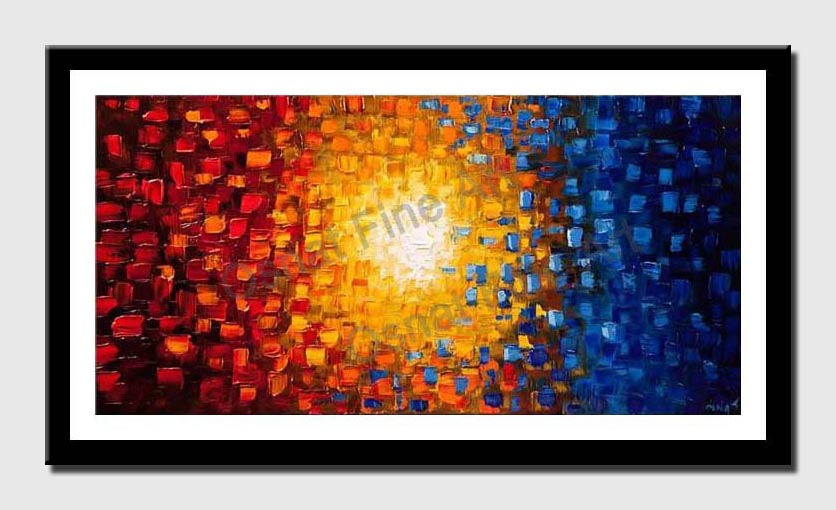 canvas print of red yellow and blue abstract of small squares