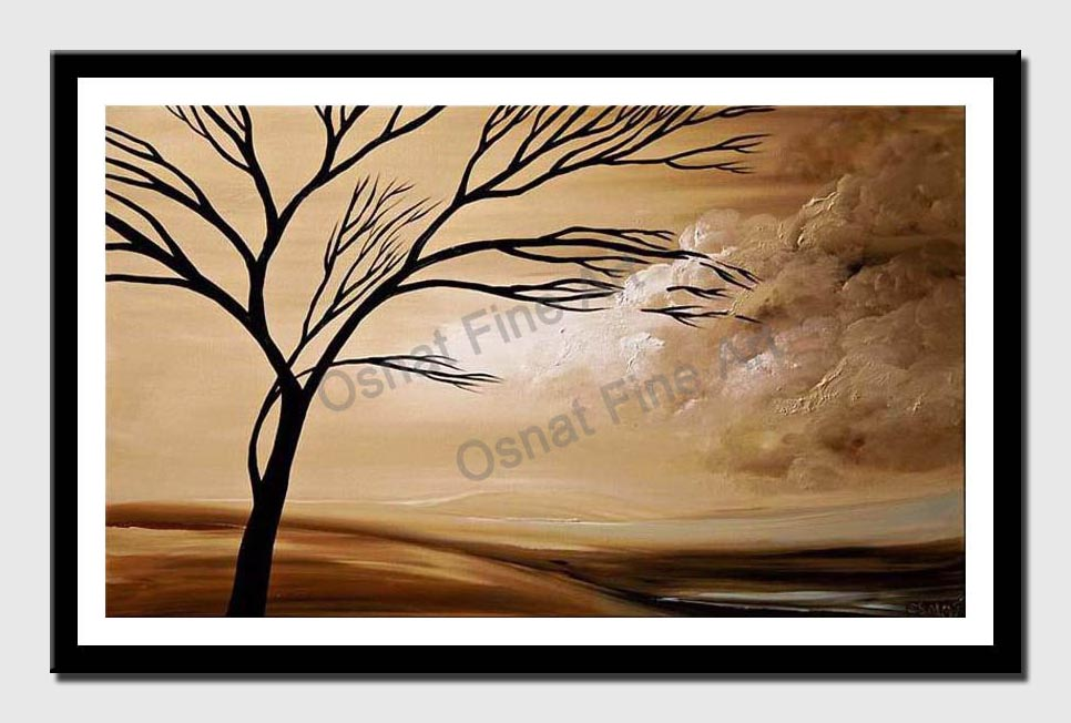 canvas print of earth tones landscape of tree over clouds
