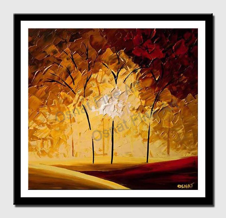canvas print of abstract red and yellow forest