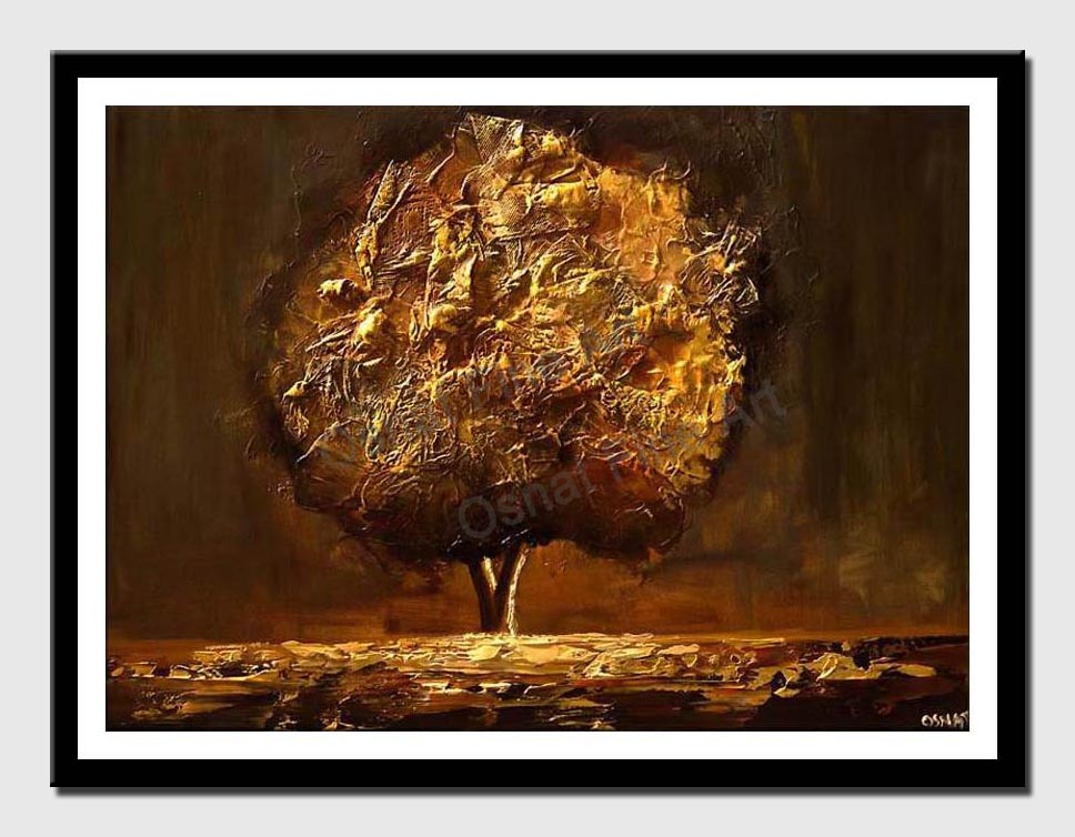 canvas print of gold brown tree