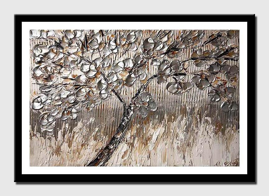 canvas print of tree with silver leaves