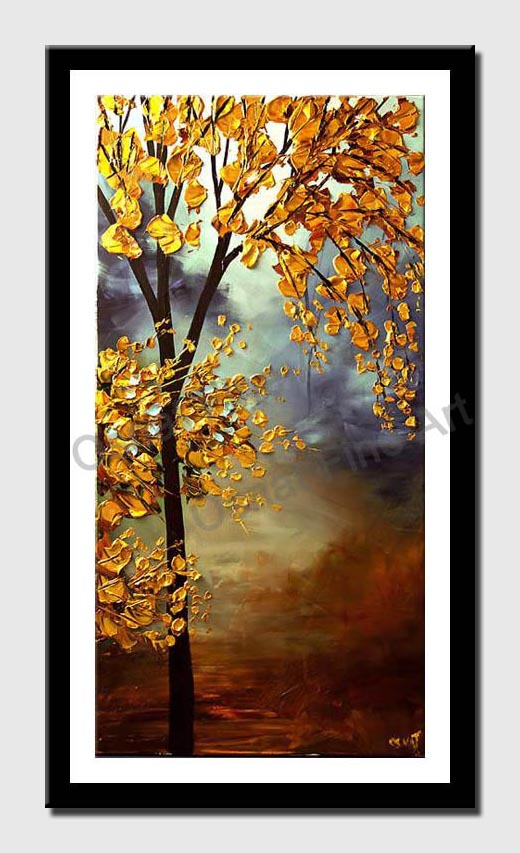 canvas print of vertical blooming golden tree