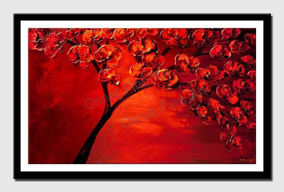 canvas print of textured painting of blooming red tree
