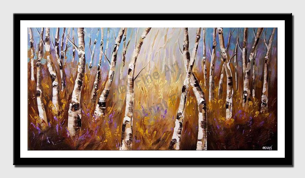 canvas print of enchanted forest of birch trees