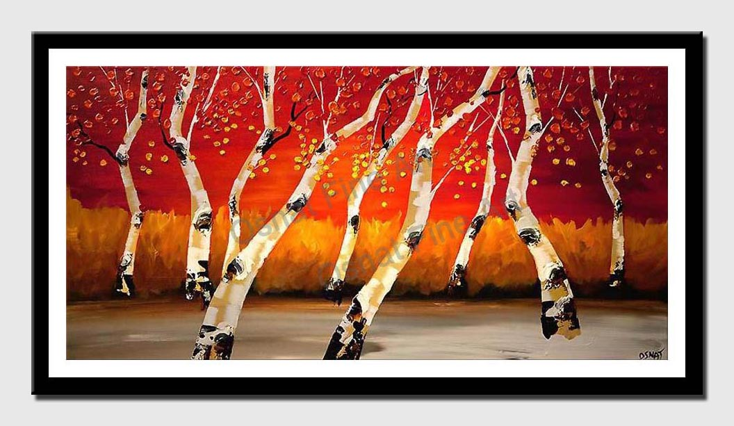canvas print of birch trees over red background