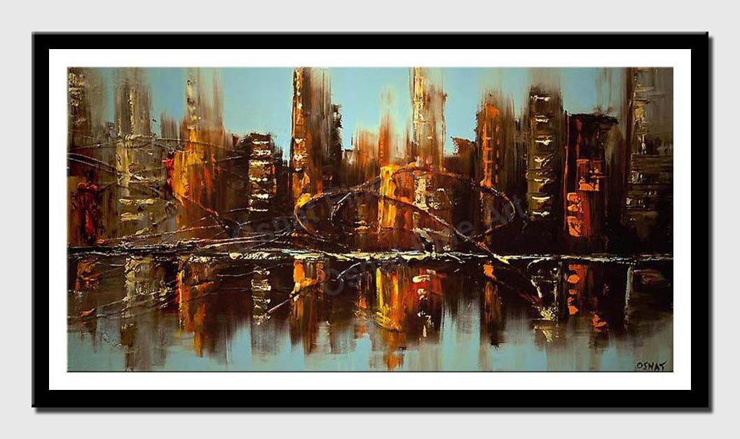 canvas print of cityscape reflected on water