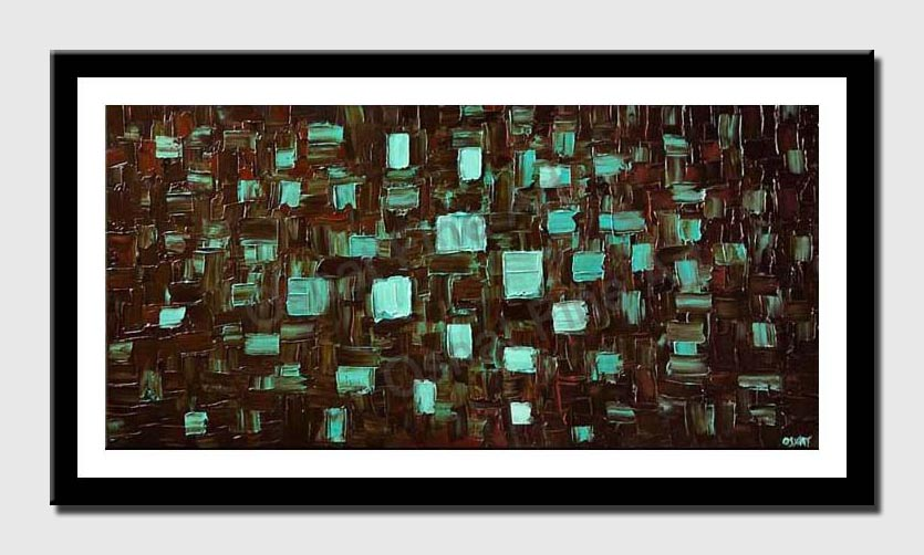 canvas print of abstract turqouise brown painting