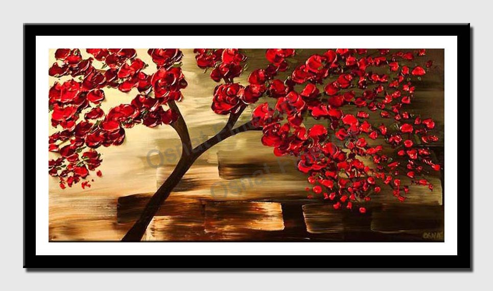 canvas print of decorative red tree painting