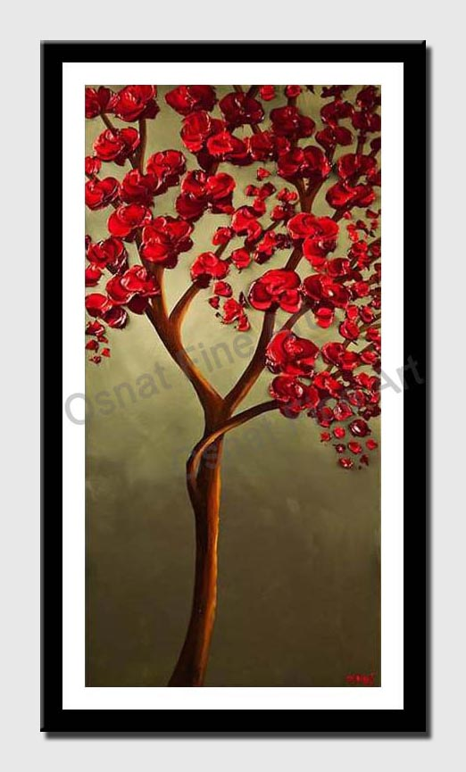 canvas print of Red Blooming Tree Painting on Olive Background