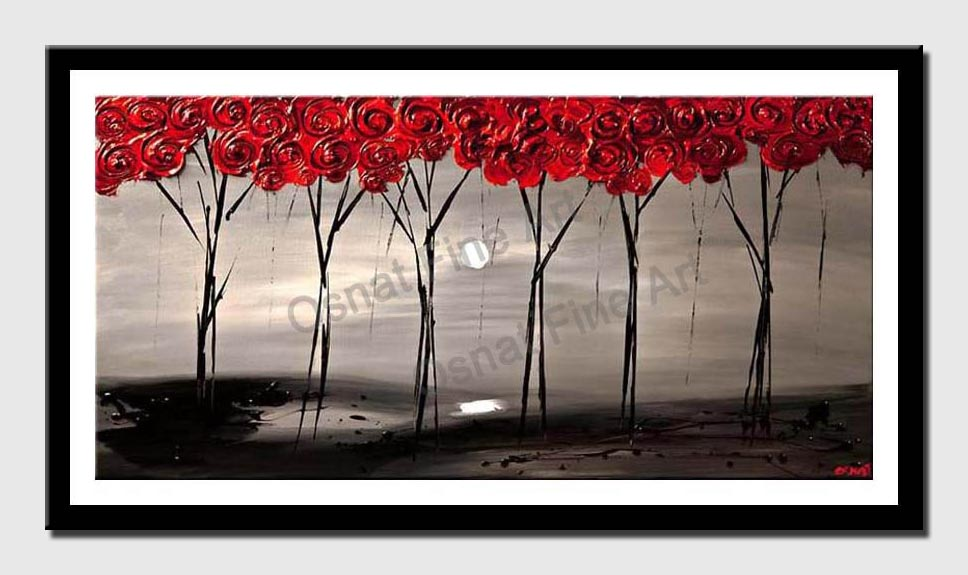 canvas print of  Abstract Red Blooming Trees on Gray Landscape